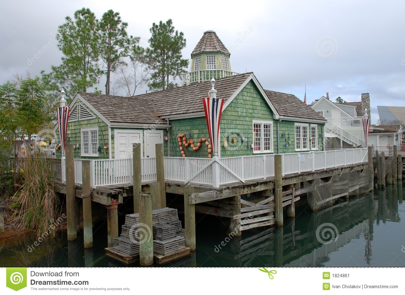 New england fishing village stock image image of town for Who sells fishing license near me