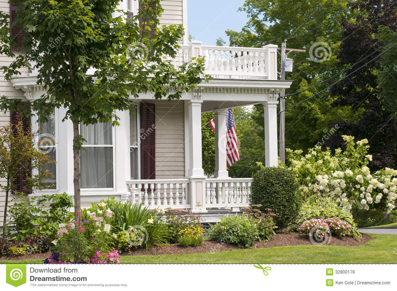 New England House Porch Stock Photo Image Of Country