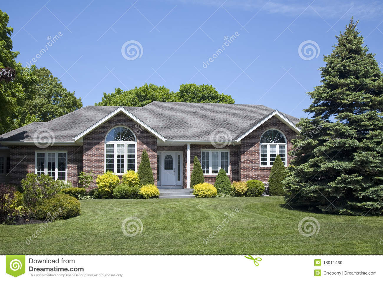 New Family Brick Home Stock Photo Image Of Nobody Built