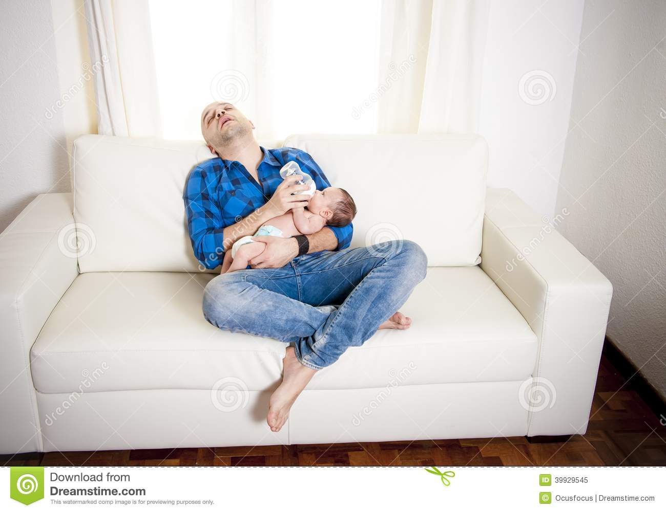 Awesome New Father Alseep While Feeding His Newborn Baby Stock Image Dailytribune Chair Design For Home Dailytribuneorg
