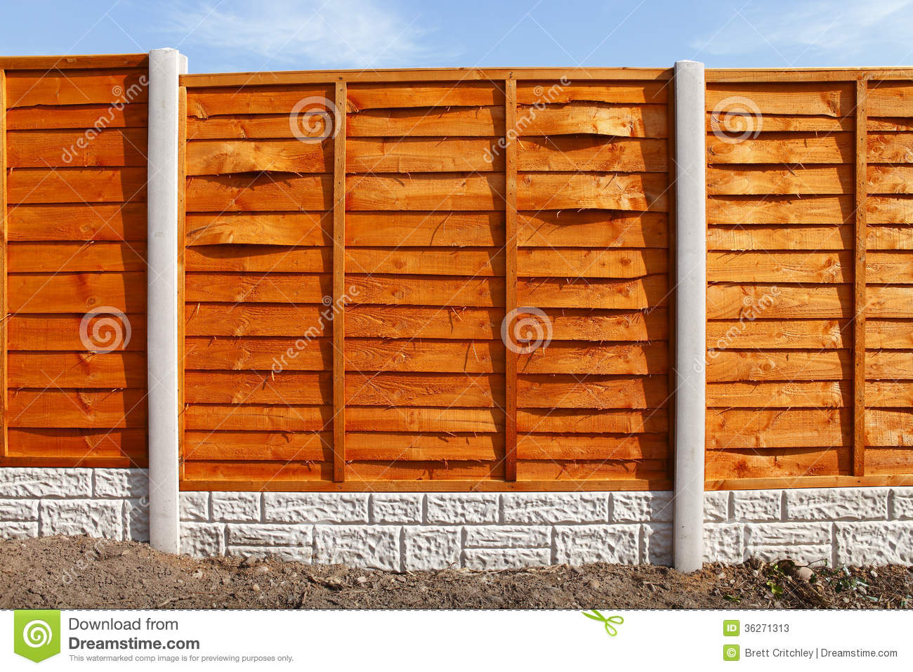 New fence panels stock photos image 36271313 boards concrete fence fitted foot gravel new panels posts baanklon Gallery