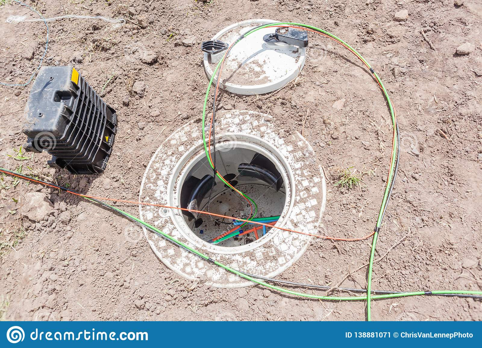 New Fiber Optic Cables Underground Internet Connection Box ...