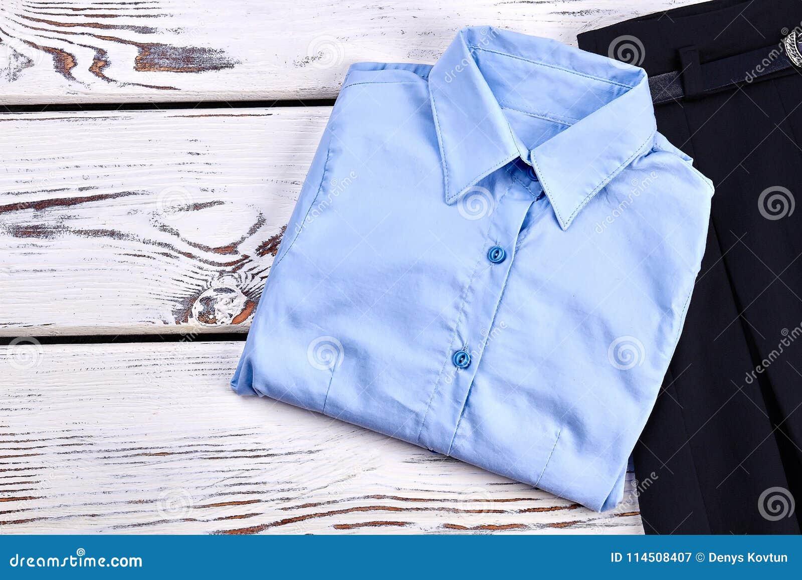 New Folded Light Blue Girls Shirt Stock Image Image Of Beautiful