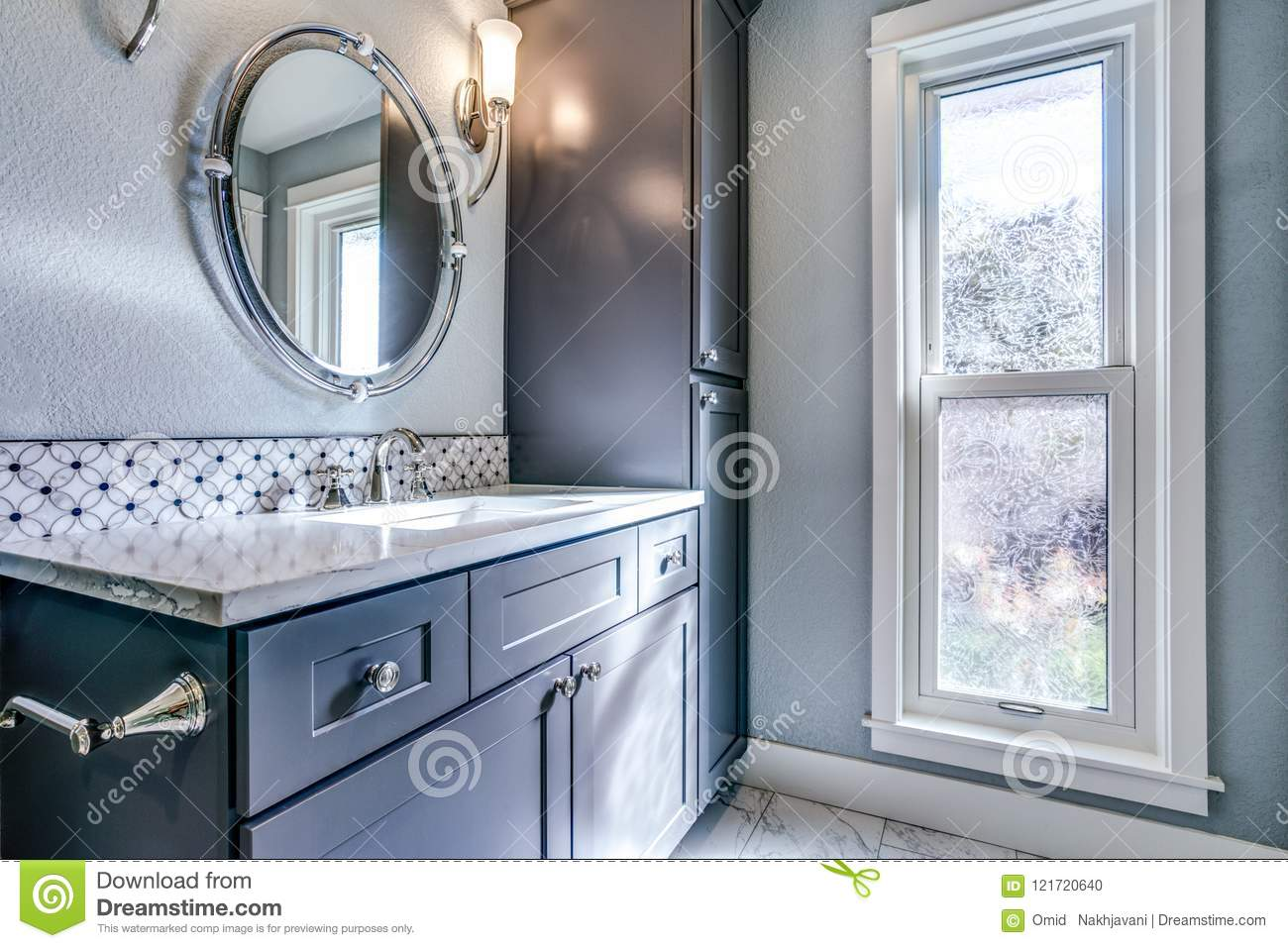 - New Blue Bathroom Design With Mosaic Accent Tiles. Stock Photo