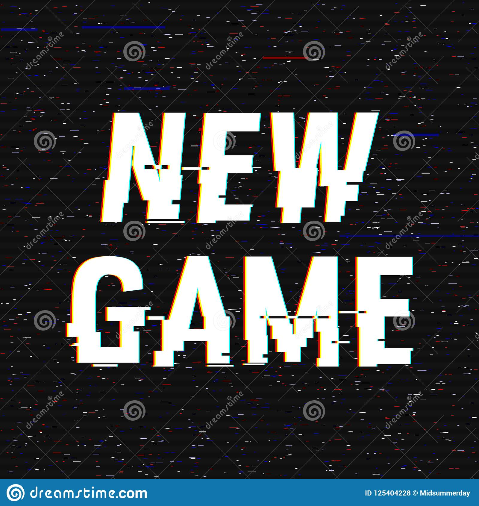 New Game glitch text. Anaglyph 3D effect. Technological retro background. Vector illustration. Creative web template