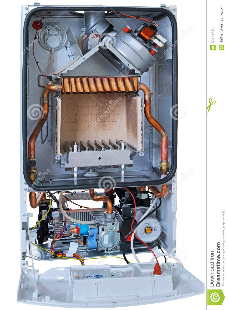 New Gas Boiler Without Front Cover Stock Photo - Image of background ...