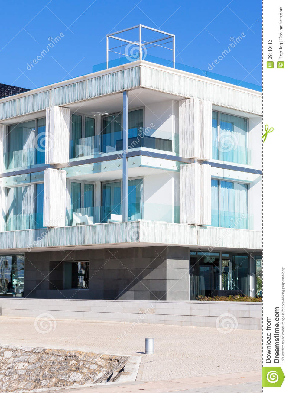 new glass wall apartment house stock photography image