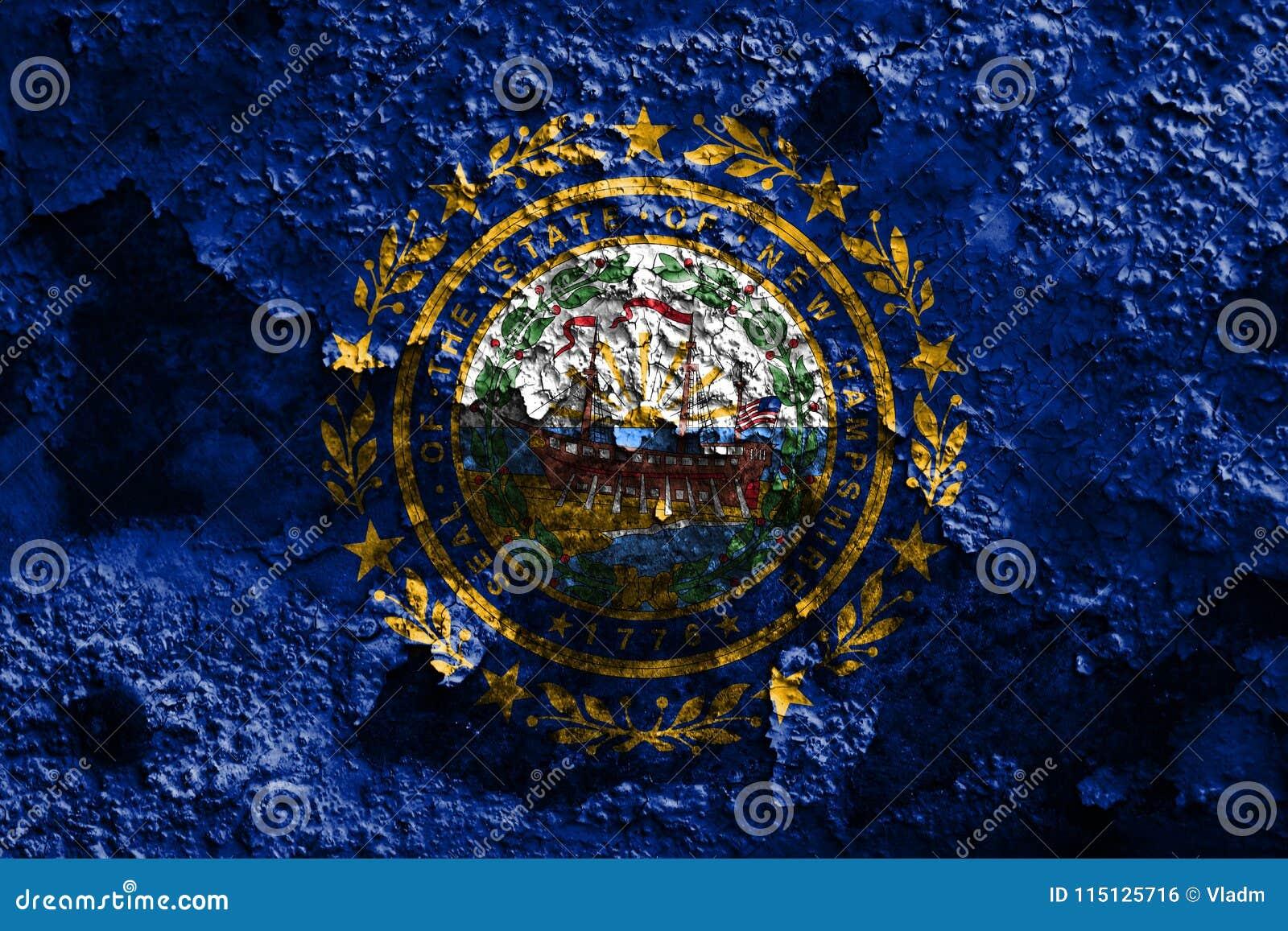 New Hampshire-de vlag van de staat grunge, de Verenigde Staten van Amerika