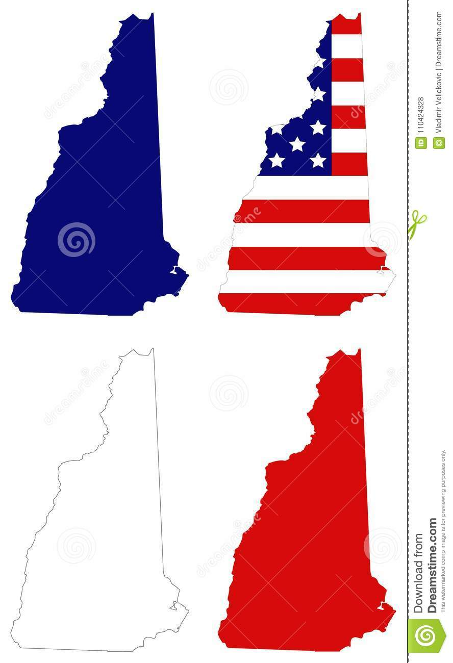 New Hampshire Map With USA Flag - State In The New England Region Of ...
