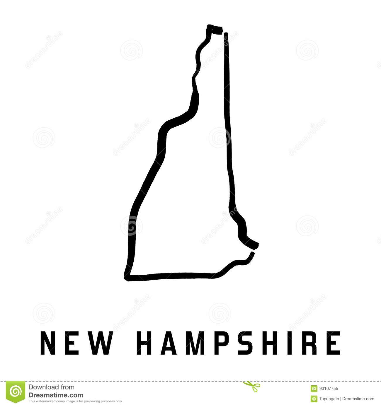 New Hampshire Stock Vector Image - Simple us map outline
