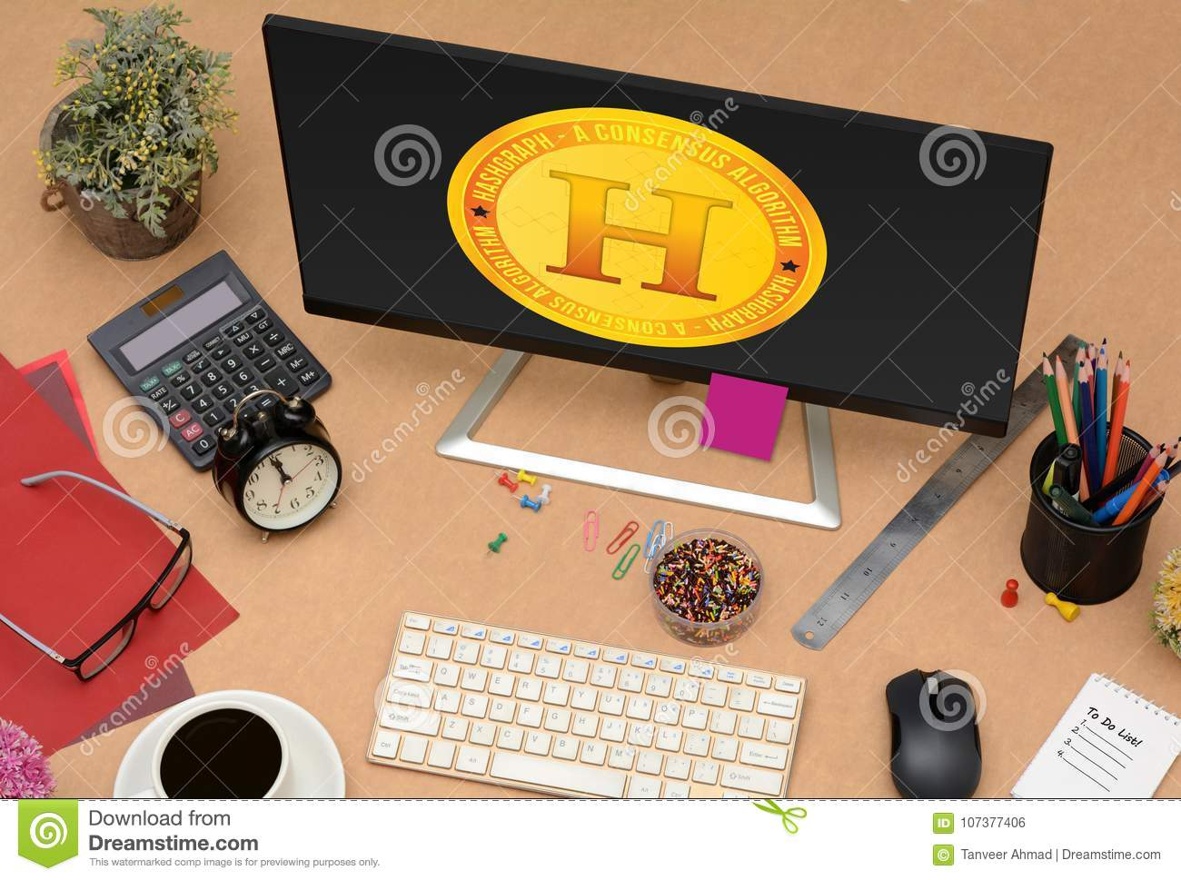 New Hashgraph Coin Design On Computer Screen Stock Photo - Image of