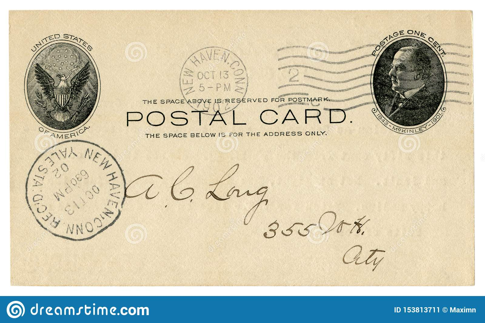 New Haven, Connecticut, de V.S. - 13 Oktober 1902: De historische Briefkaart van de V.S. met adelaarsembleem, stempelde Één Centz