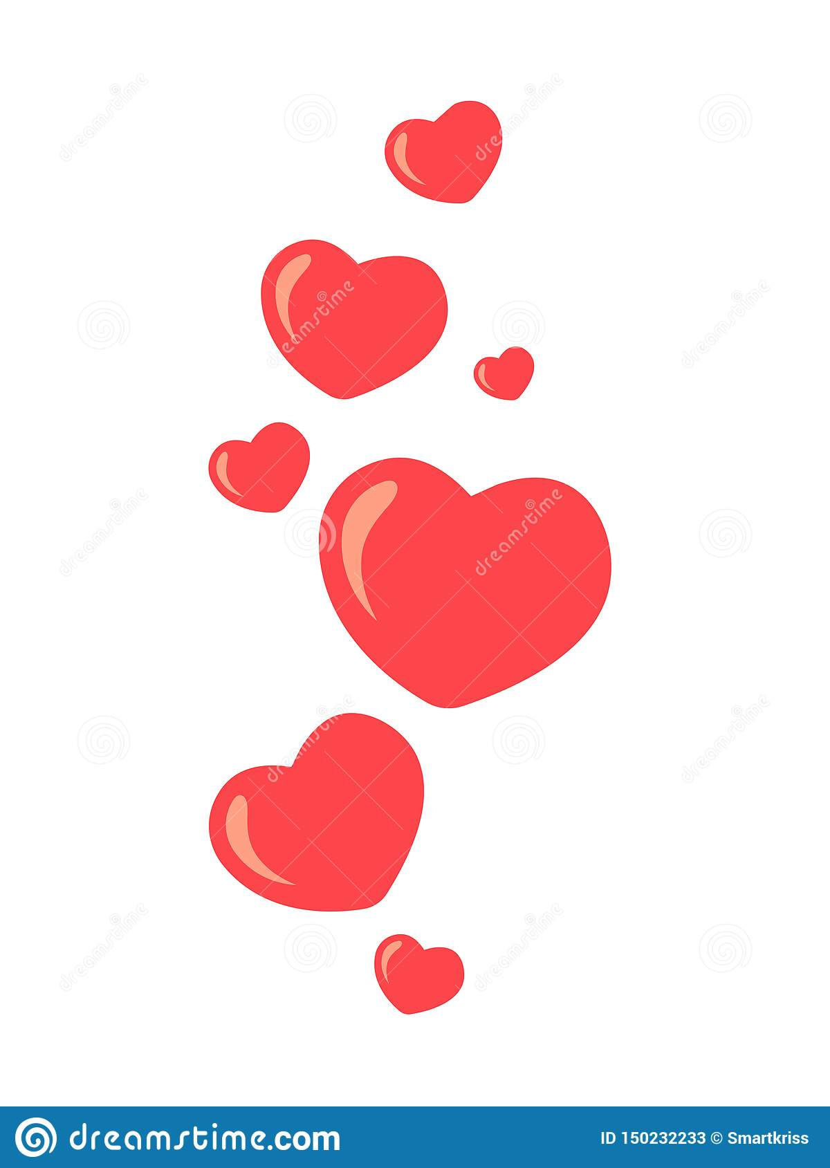 New Heart love, like. Flying up hearts. Red hearts of different sizes fly away. Like and Heart love icon in move