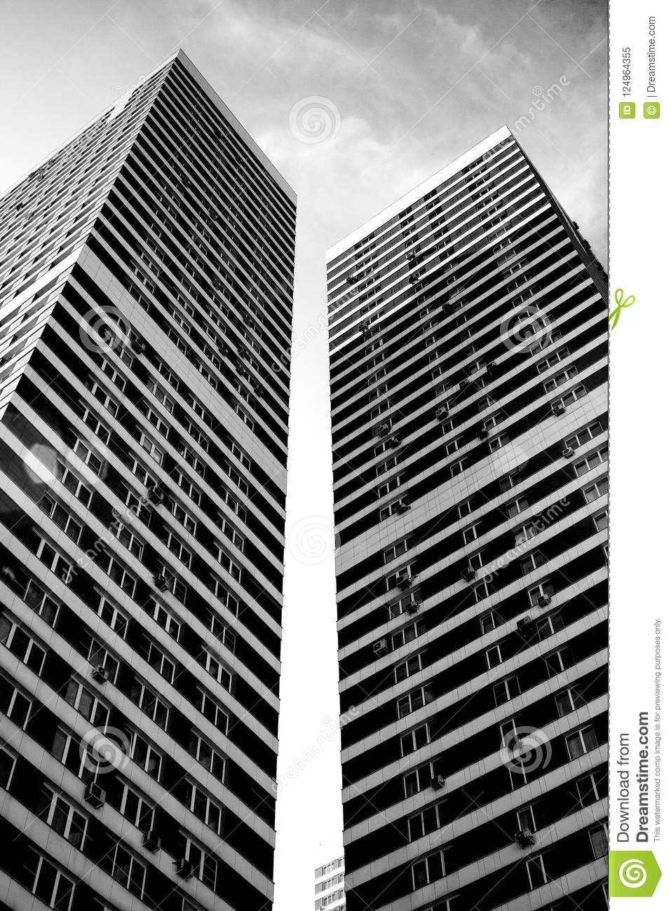 1b616549e82b New High-rise Building In Moscow In Black And White Stock Image ...