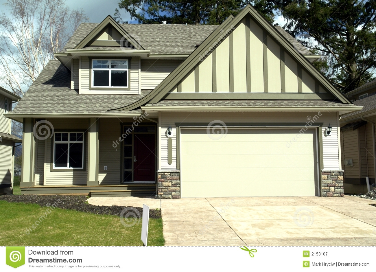 New Home Stock Image Image Of Driveway Mortgage Gable