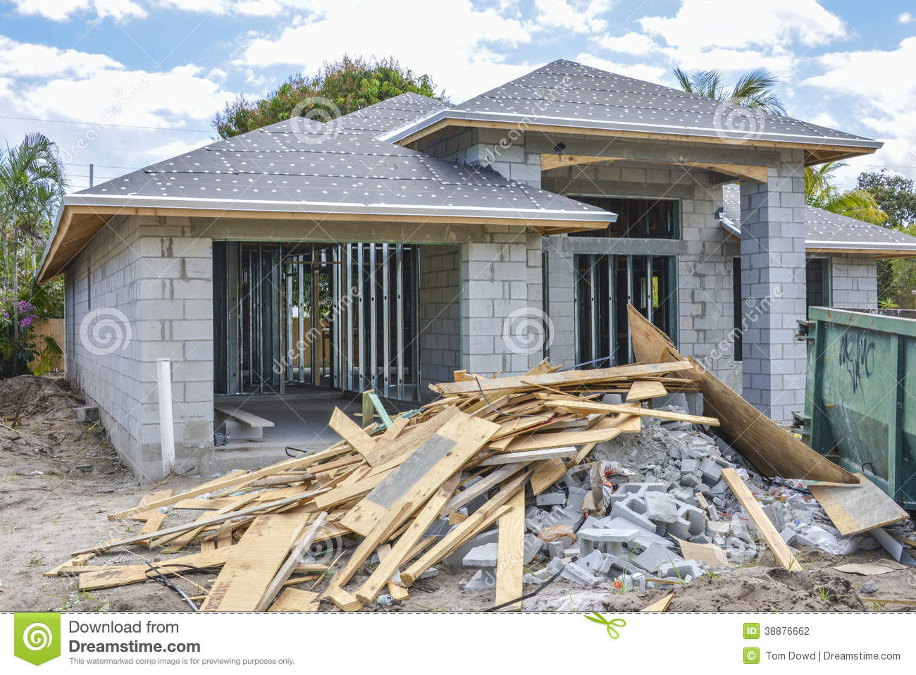New Home And Construction Debris Stock Photo - Image: 38876662