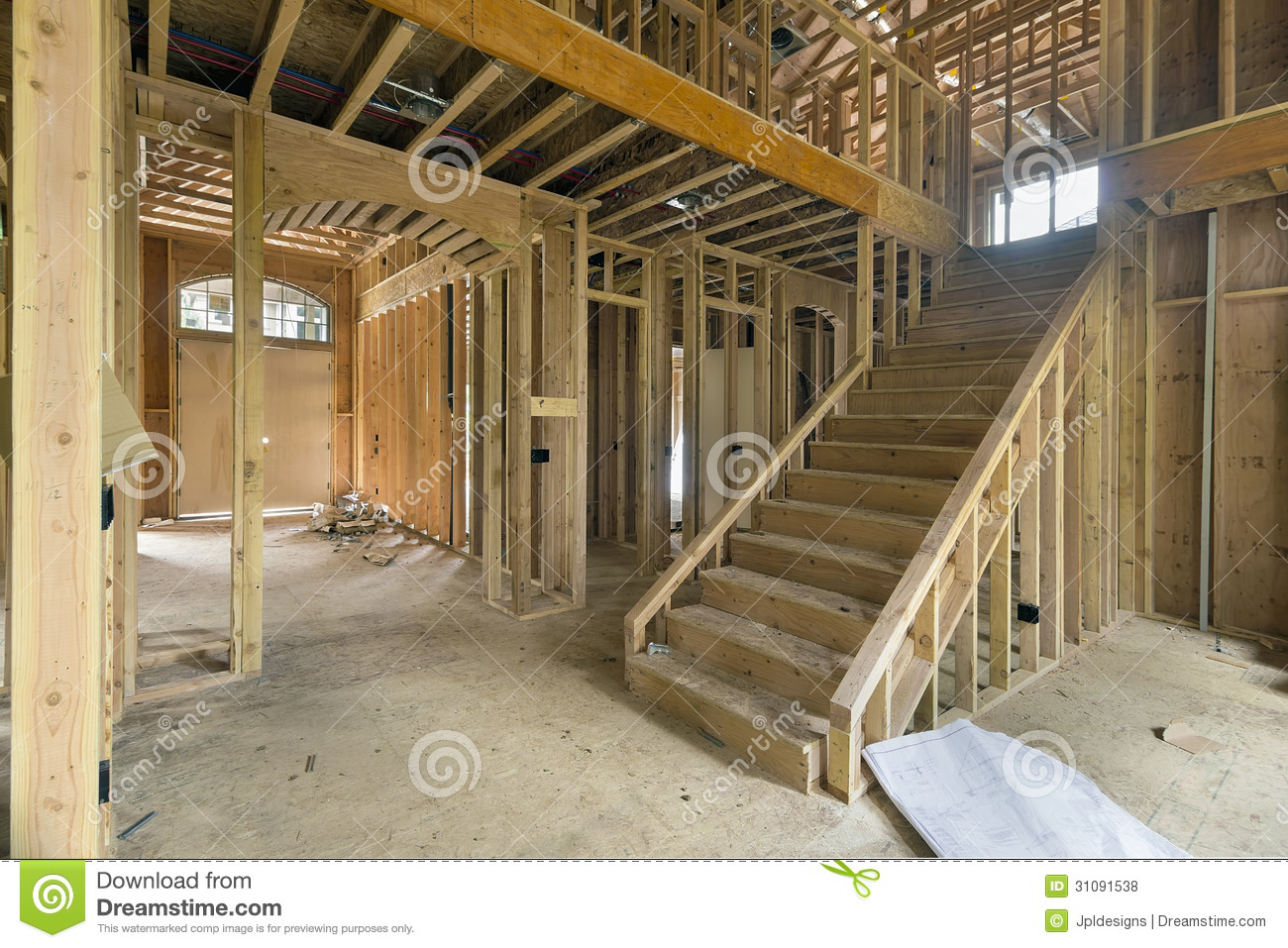 New Home Construction Framing Foyer Area Stock Photo