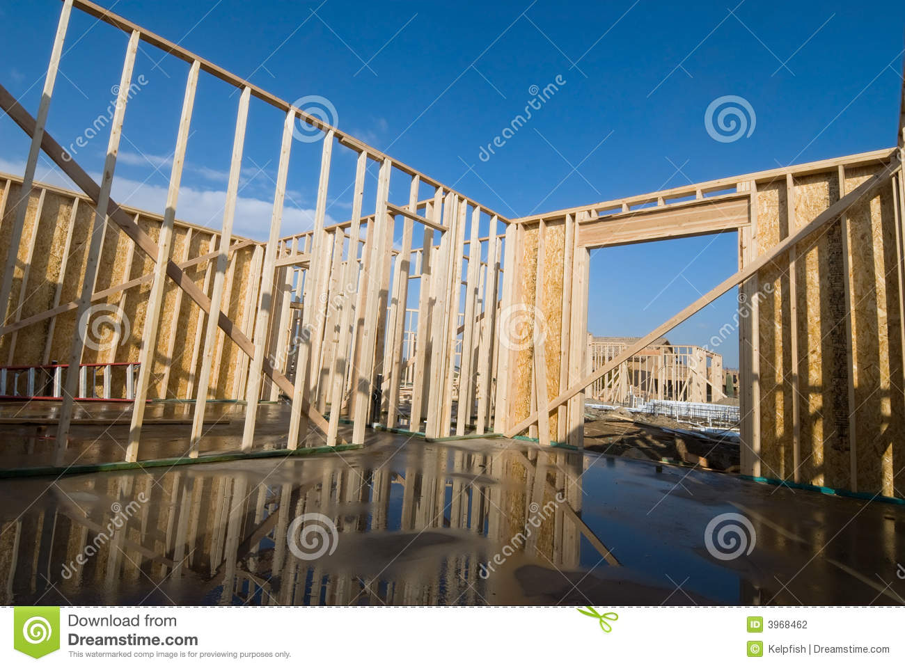 New Home Construction At Framing Stage Stock Photography