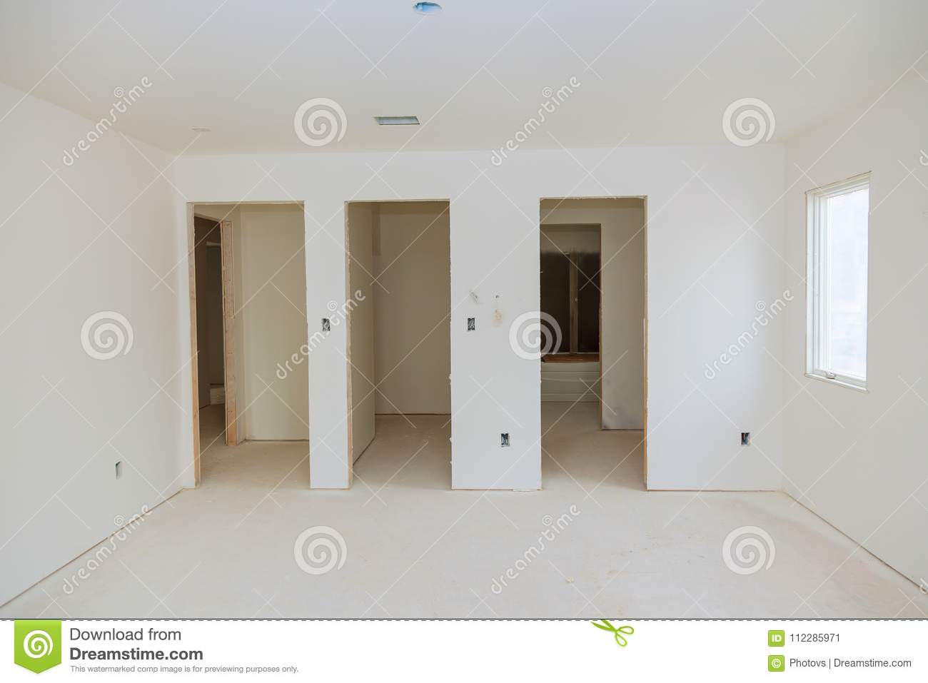 New Home Construction Interior Room With Unfinished Wood Floors And ...