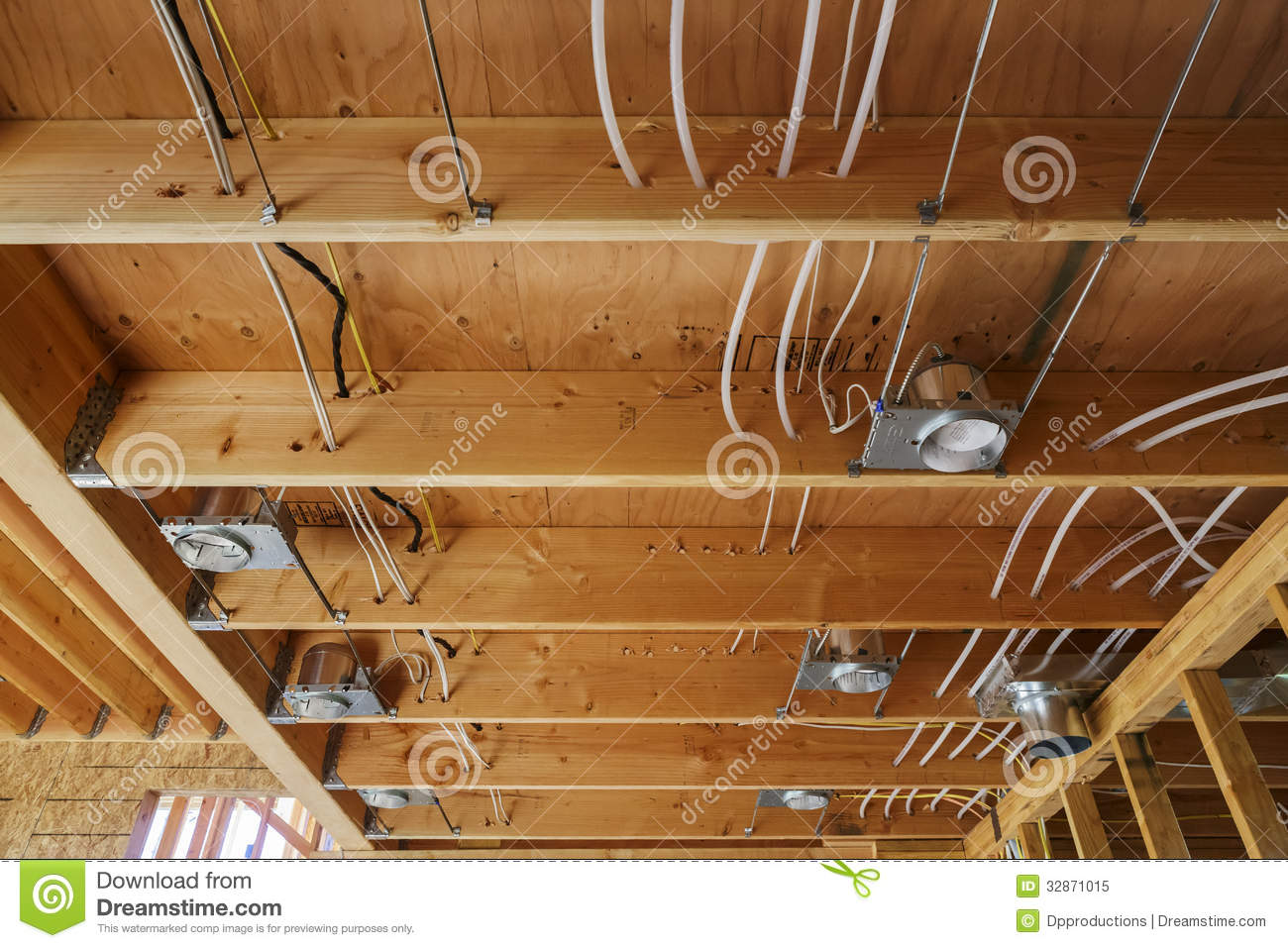 New Home Construction Lights And Ceiling Detail Stock