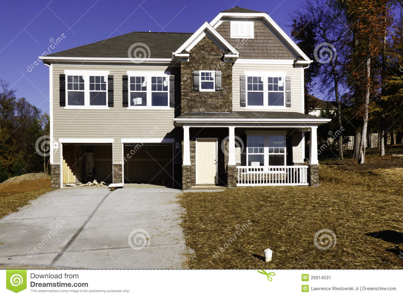 New Home Construction Nearly Complete Stock Image