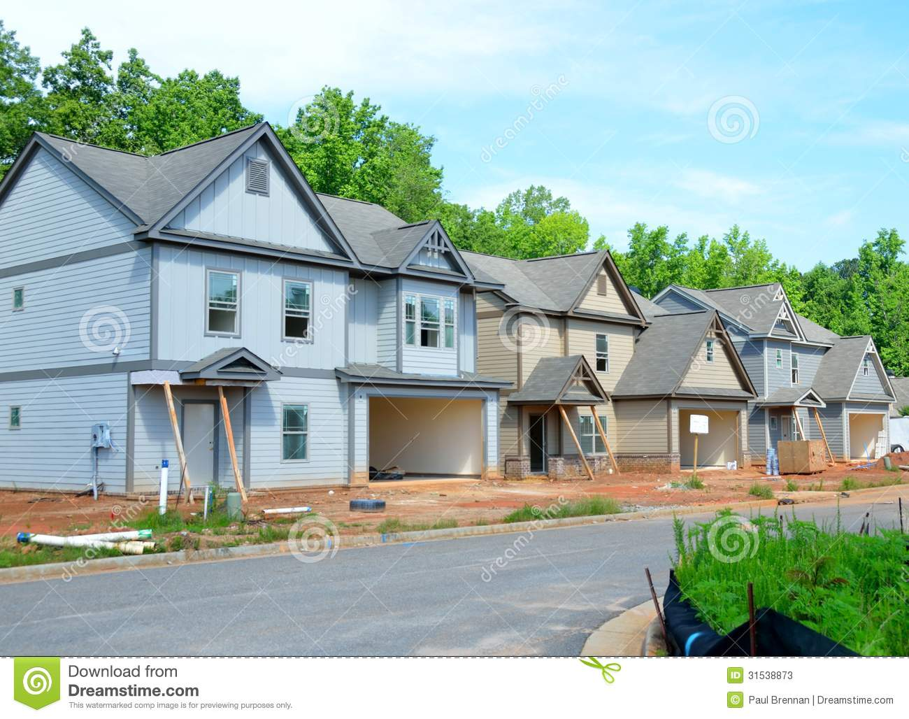 New homes construction stock image image of houses story for Usa home builders