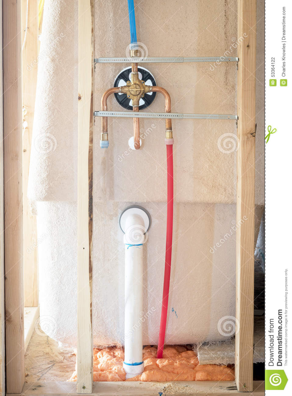 New home construction shower details stock photo image for Plumbing a new house