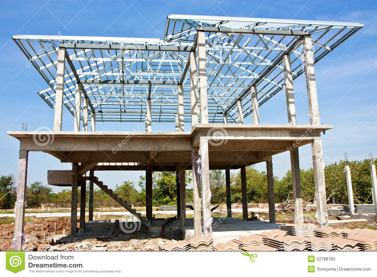 New home construction with steel roof structure stock Home building contractor