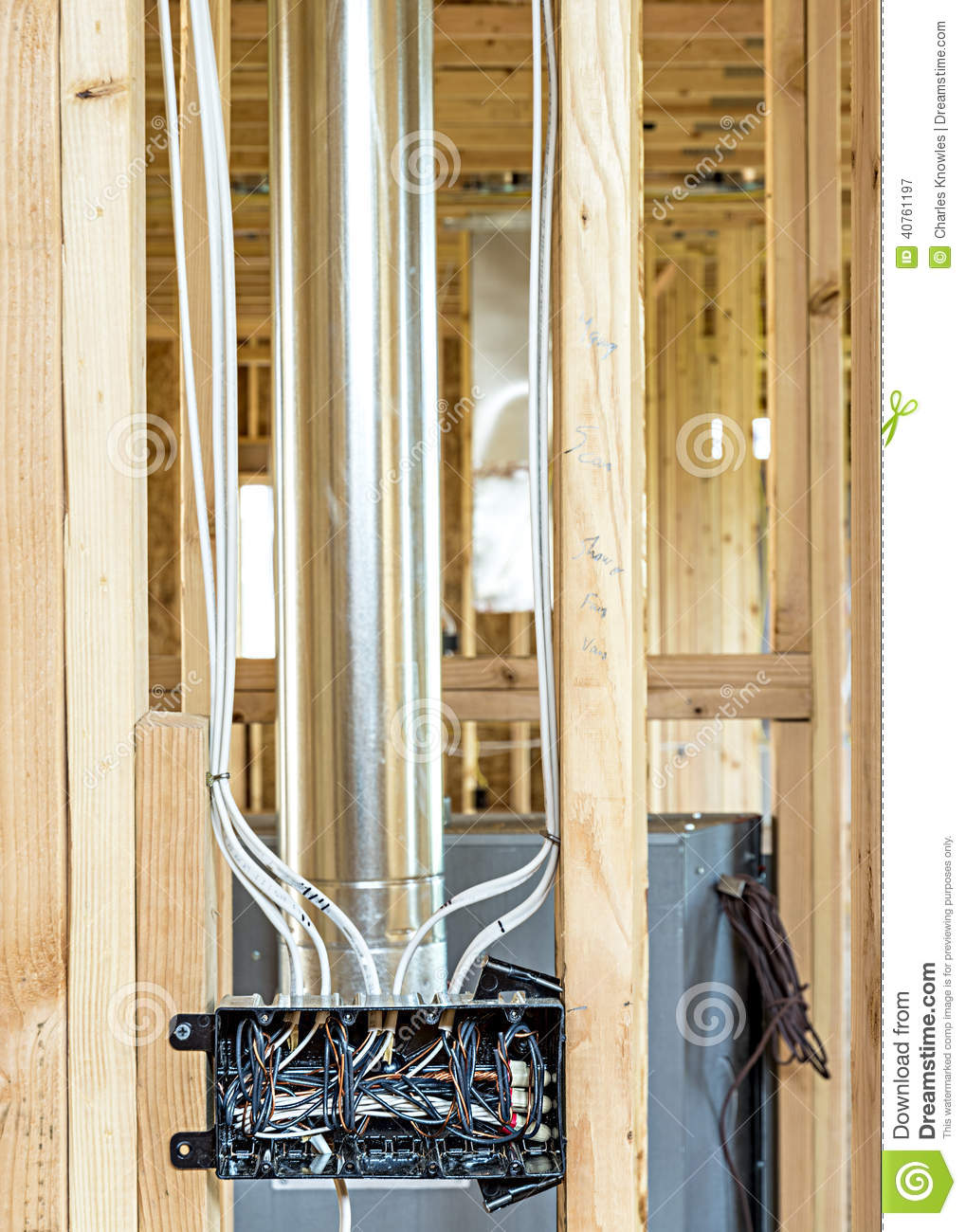 new home construction wiring box stock photo image 40761197