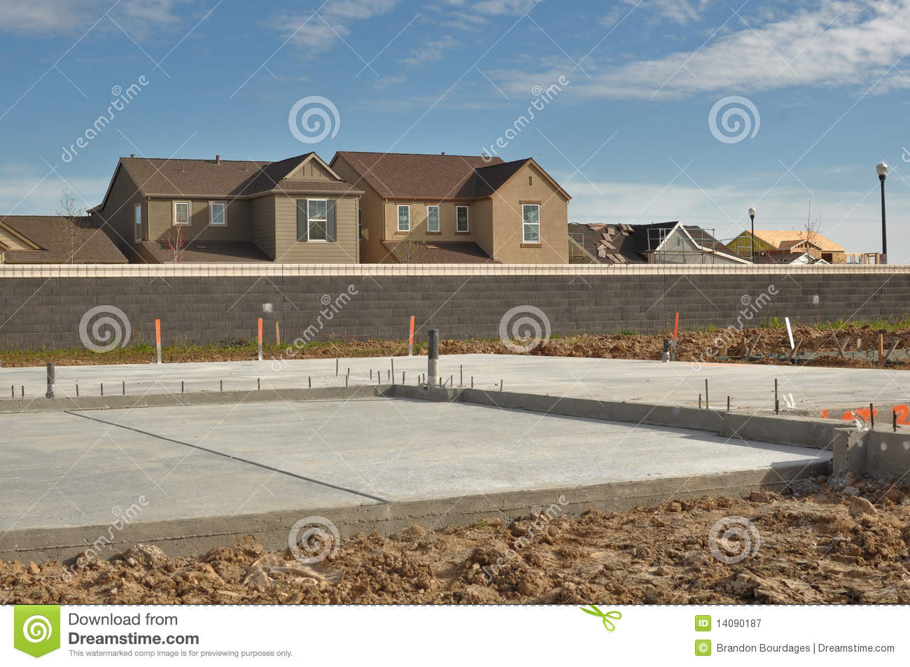 New home foundation stock image image of material place for Foundations for homes