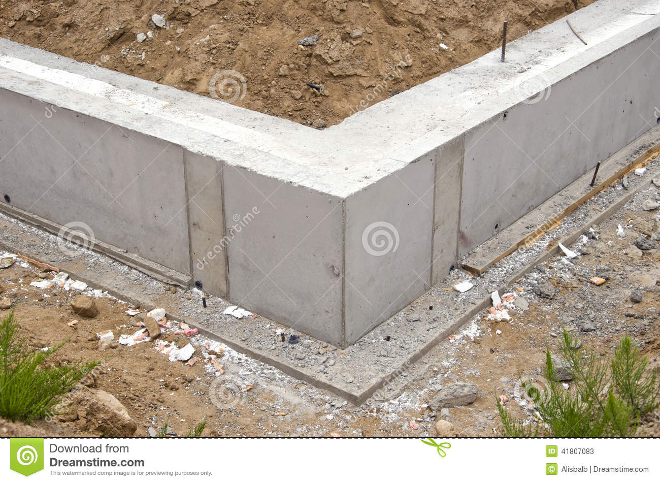 New home foundation base construction stock photo image for Home foundation