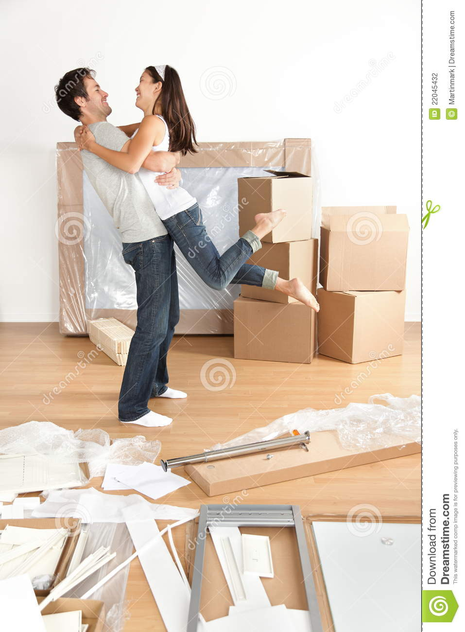 New home happy young moving couple stock photo image of estate assembly 22045432 - Young couple modern homes ...