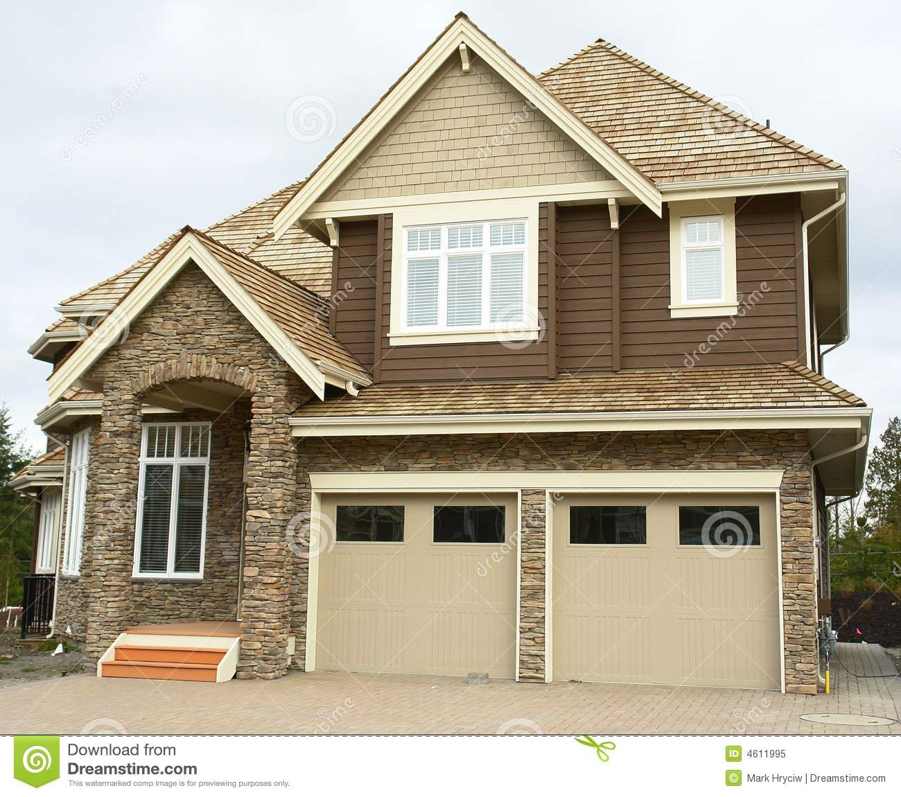 New Home House Garage Siding Stock Image Image Of