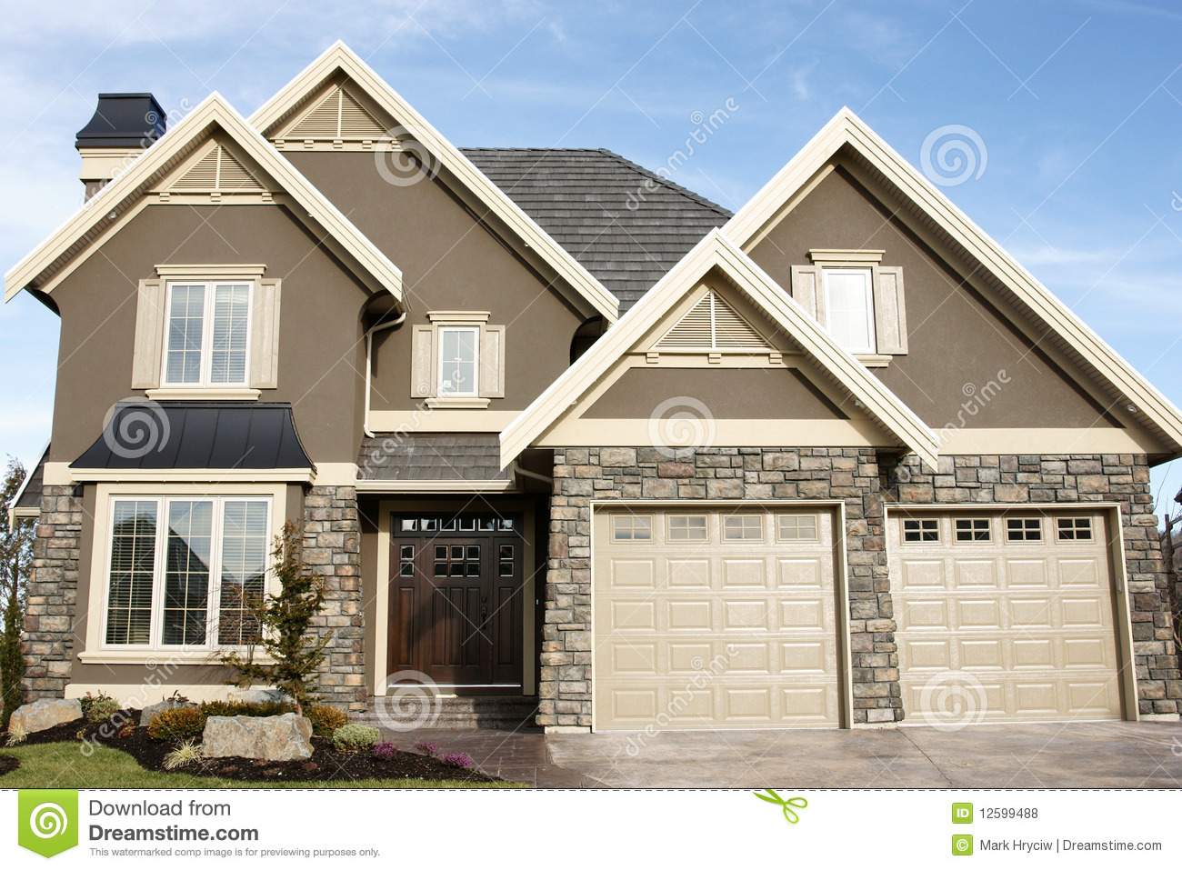 Home Exteriors: New Home House Stucco Stock Photo. Image Of Elevation