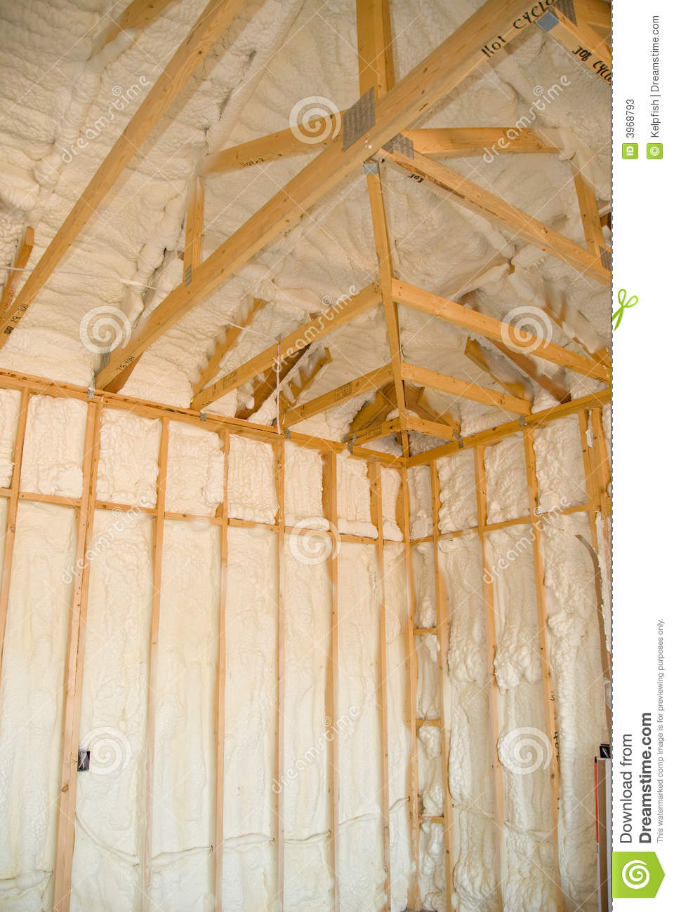 new home insulation stock image image of wood beams