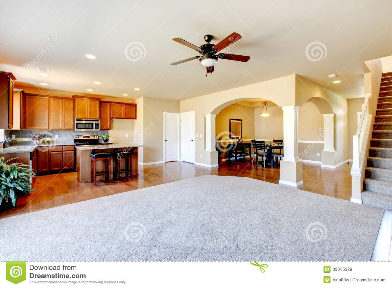 New home kitchen interior and living room interior stock for House plans with big kitchens and hearth rooms