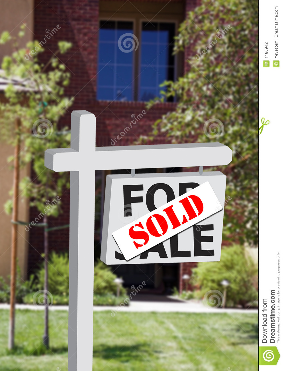 New home or office sold sign stock photography image for New home sign