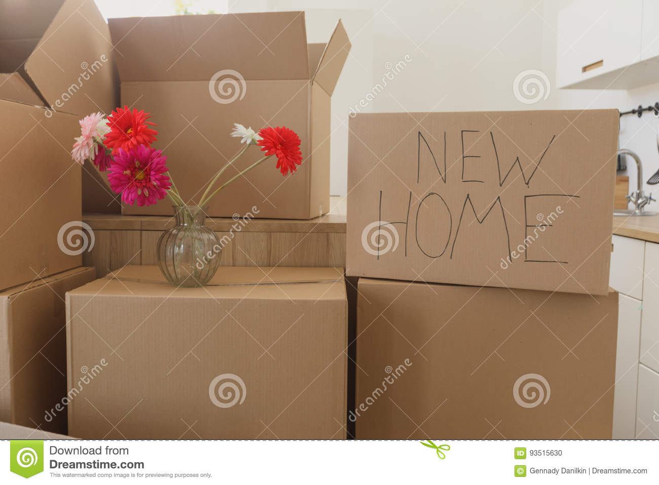 New home owners unpacking boxes, big cardboard boxes in new home. Moving to a new apartment concept