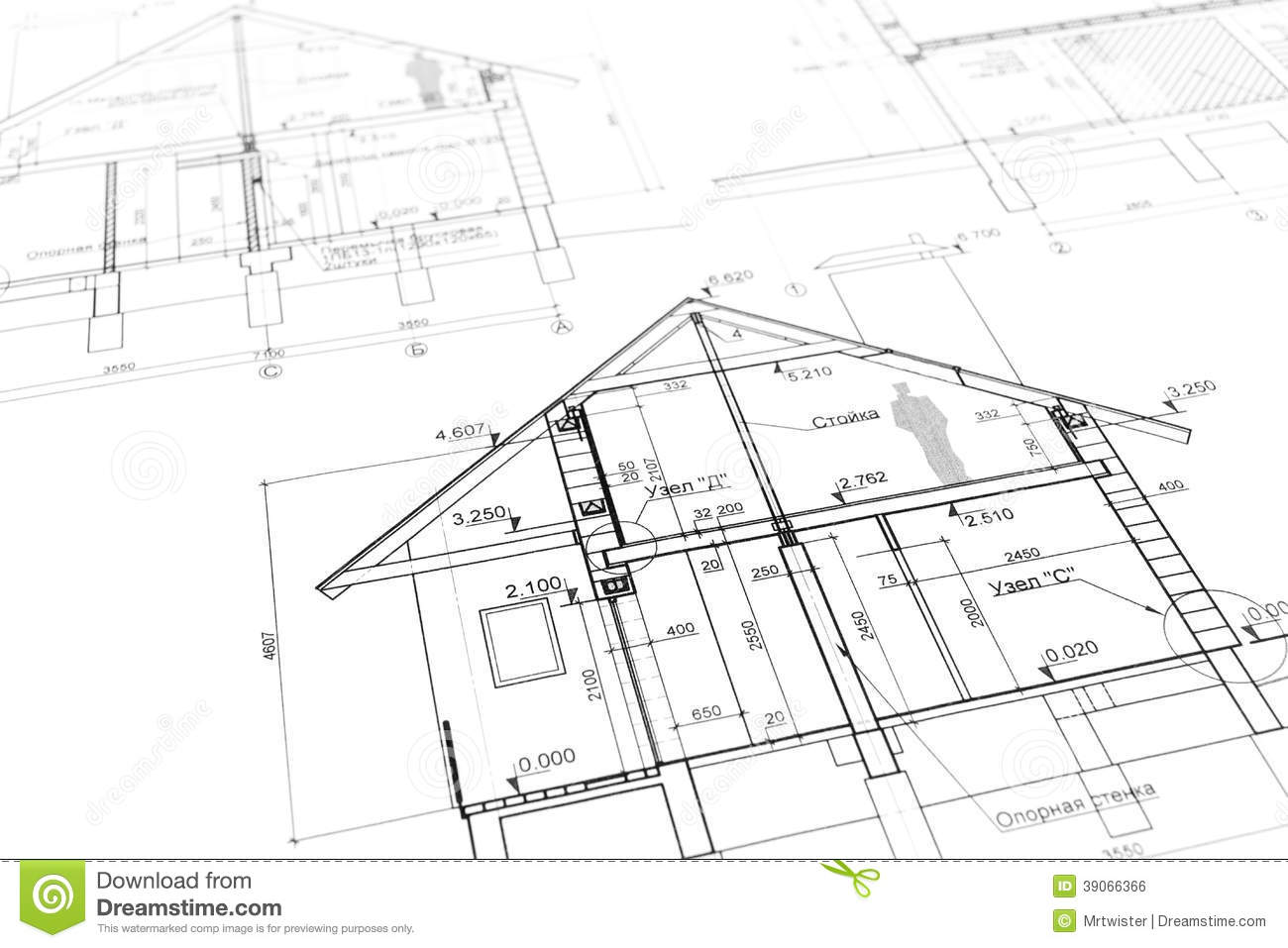 New Home Plan Blueprint Stock Photo Image 39066366