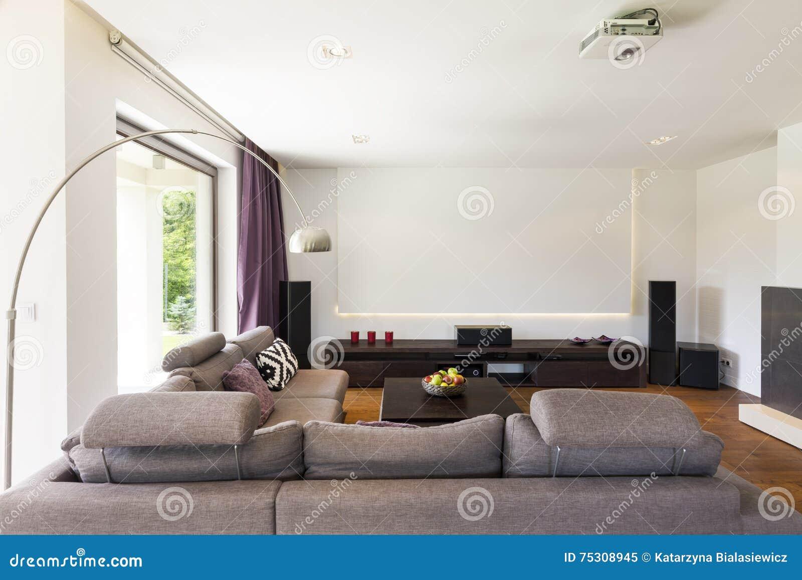New Home Theatre Idea Stock Image Image Of Apartment 75308945