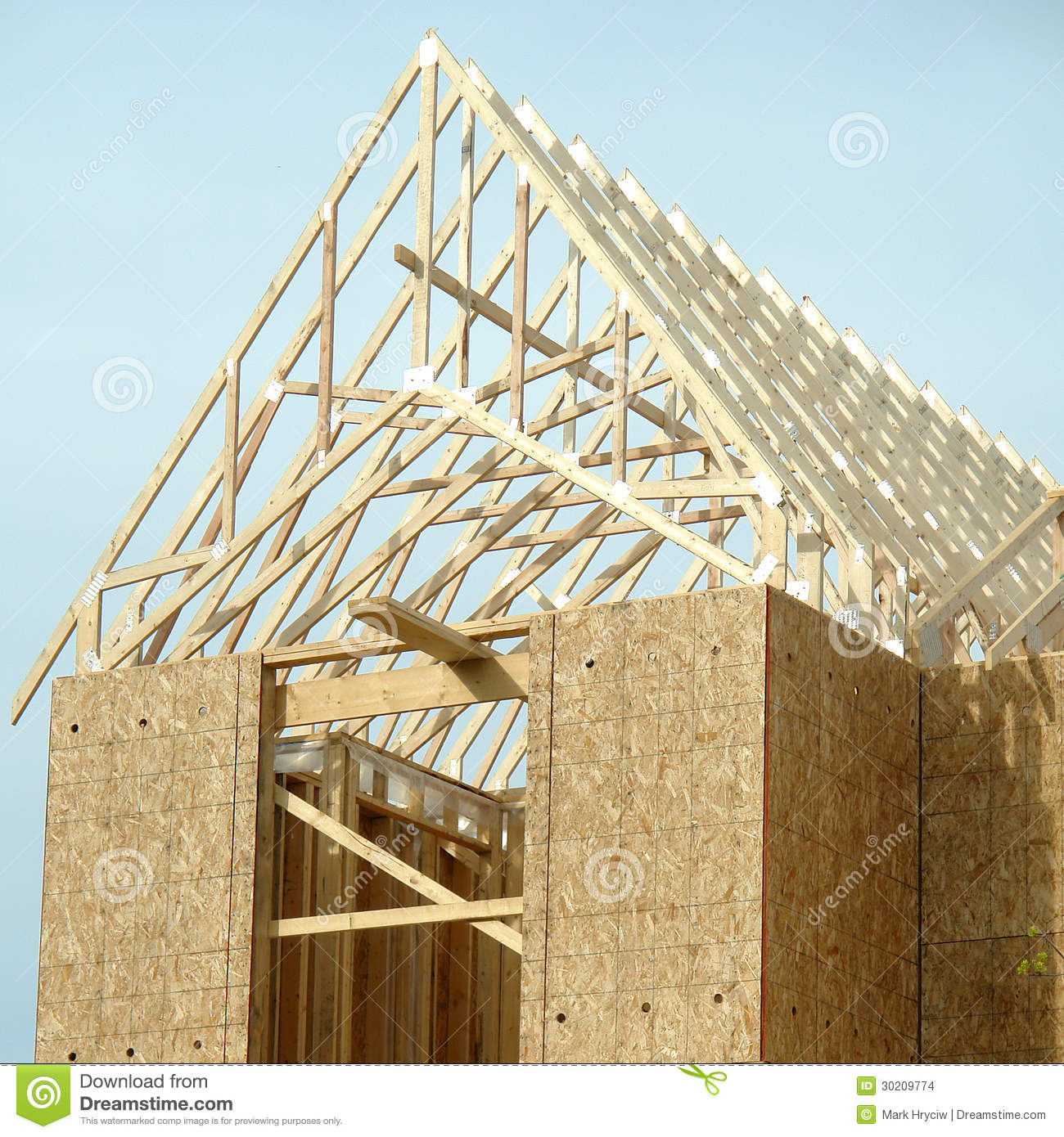 Roof framing residential house construction stock photo for House roof construction