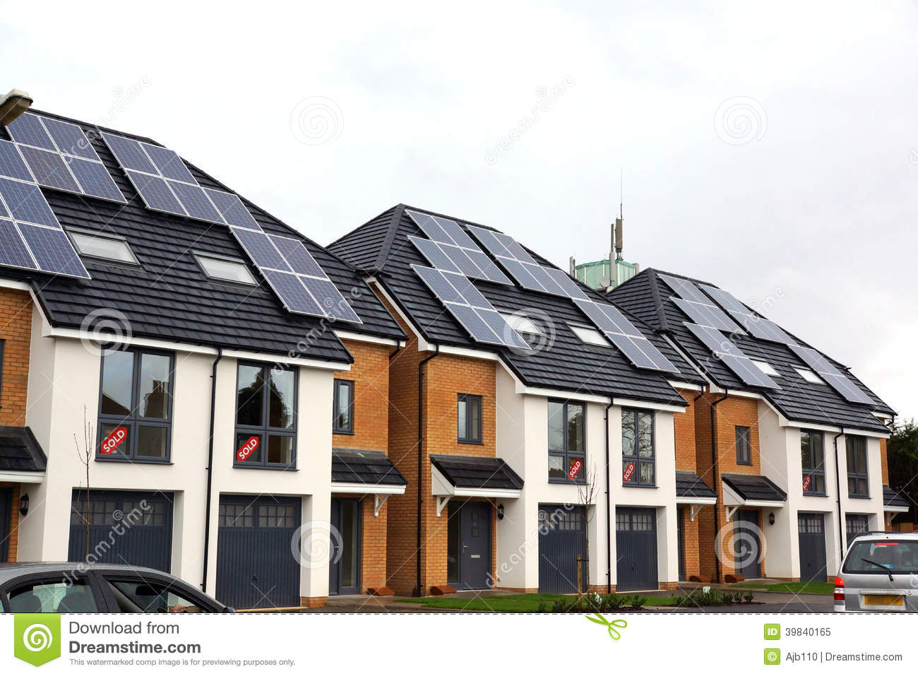 New Homes With Solar Power Stock Photo Image 39840165