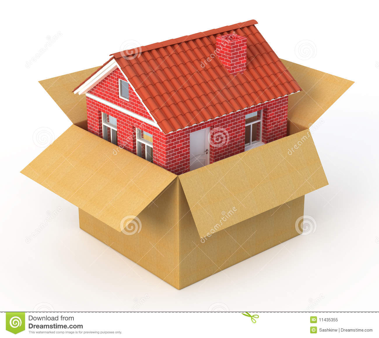 New house in the cardboard box royalty free stock photo for House in a box