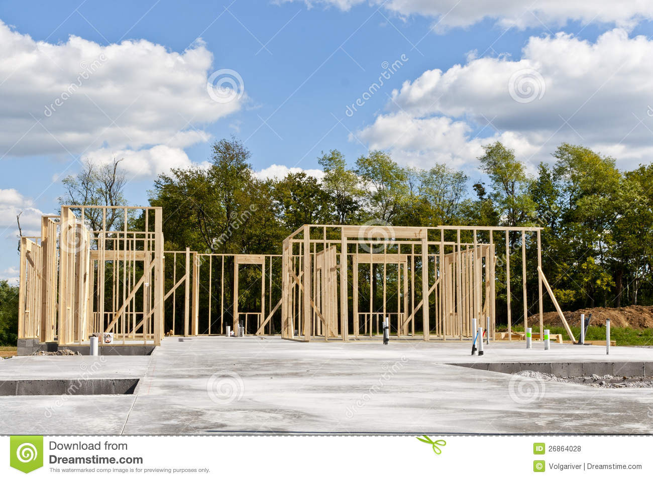 New house construction on slab foundation stock photo - Building a new home ...