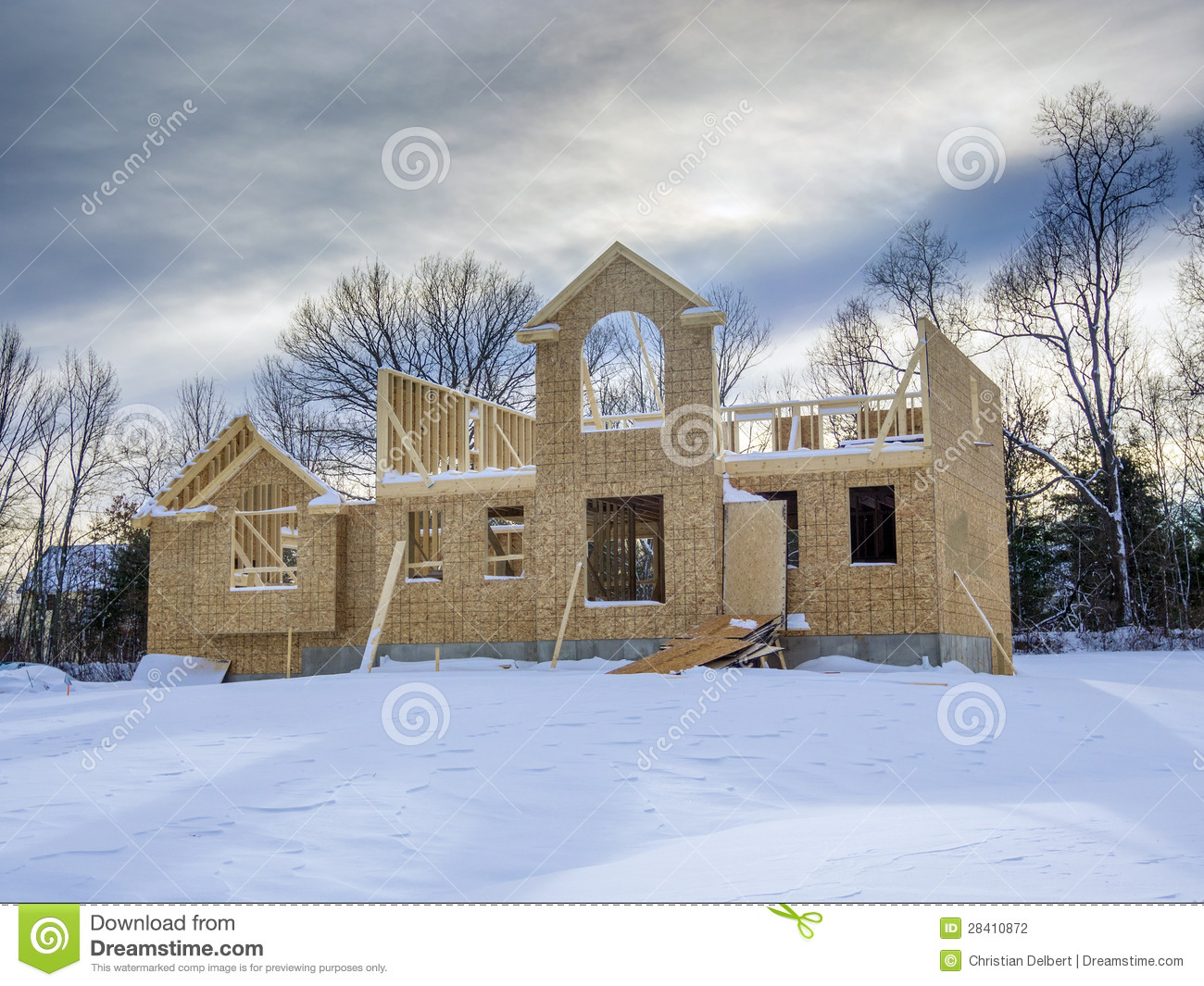 New House Construction In Winter Stock Photography Image