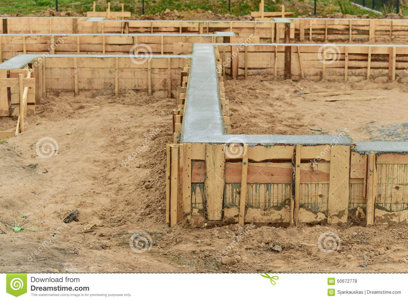 New house foundation construction stock photo image of for Old house foundation types