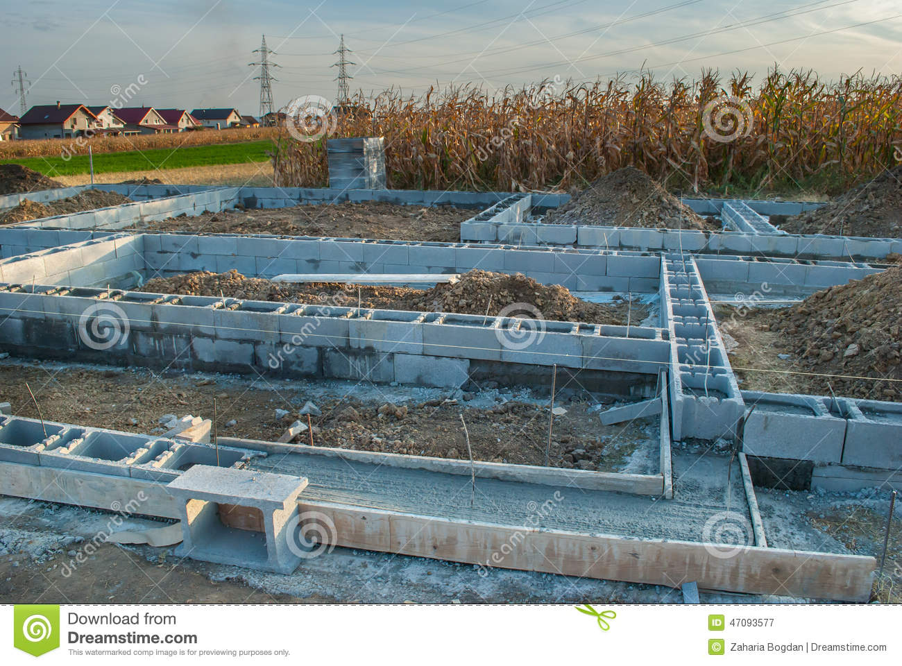 New house foundation construction stock image image for Steps on building a house