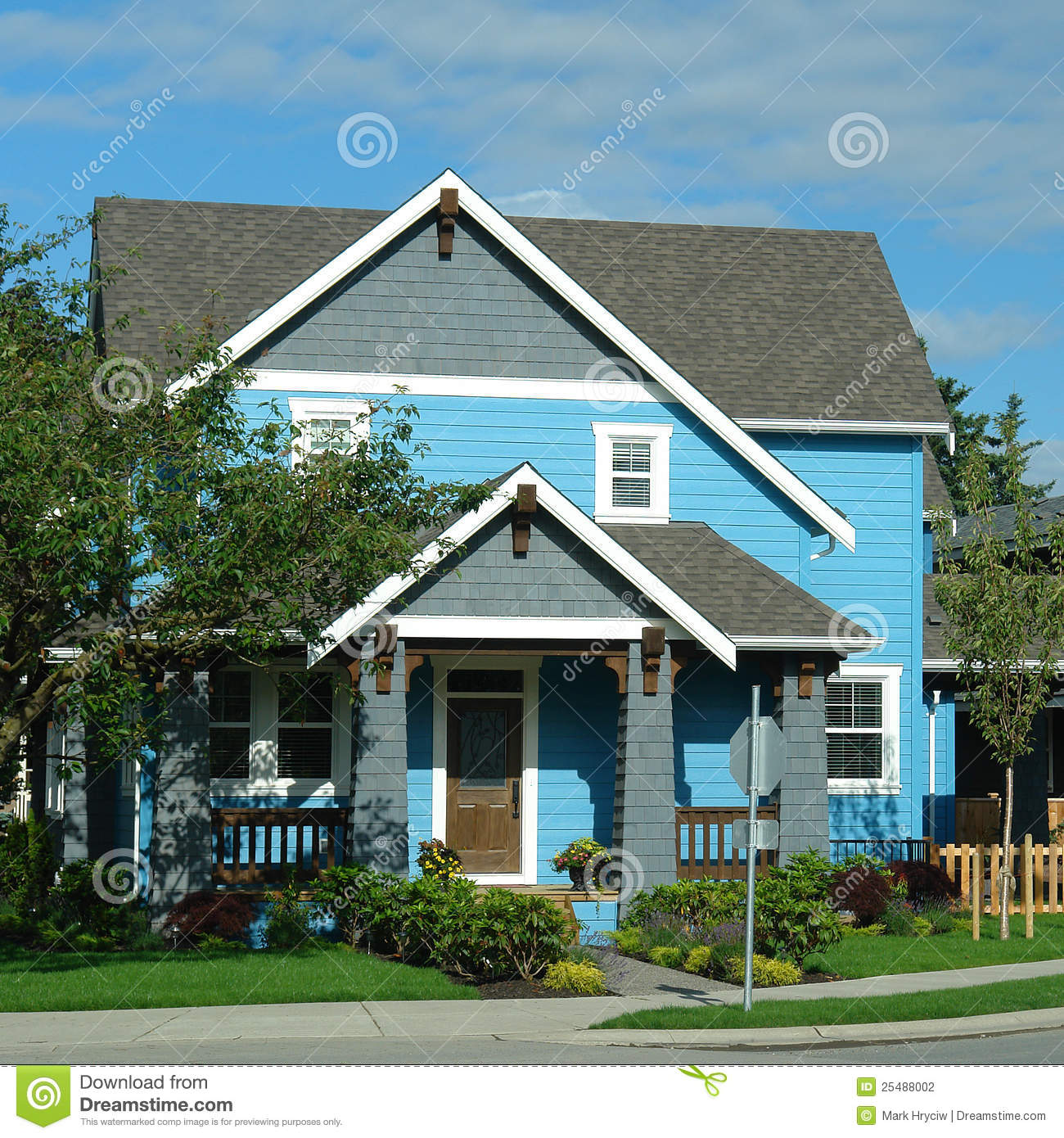 New house home exterior bright blue stock photo image for Right house
