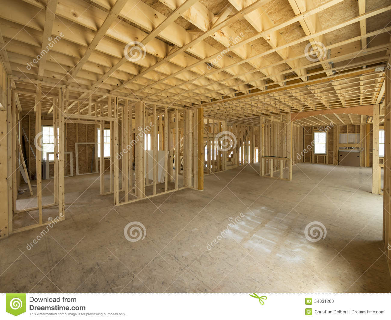 New house interior construction stock photo image 54031200 for New homes interior photos