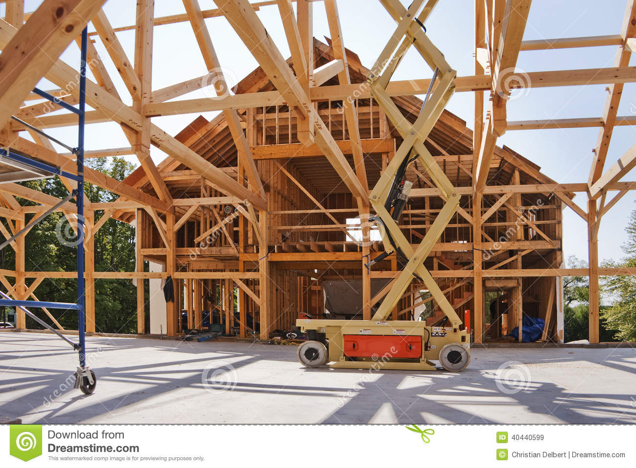 New house post and beam construction stock image image for Post beam construction